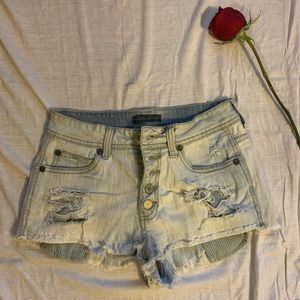 Kendall and Kylie destroyed denim shorts
